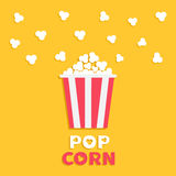 Popcorn popping. Red yellow strip box package. Cinema movie night icon in flat design style. Fast food. Yellow background with tex. T. Vector illustration Stock Images