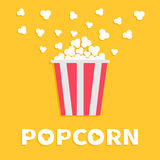 Popcorn popping. Red yellow strip box package. Fast food.. Cinema movie night icon in flat design style. Yellow background with white text. Vector illustration Stock Photography
