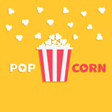 Popcorn popping. Red yellow strip box package. Fast food. Cinema movie night icon in flat design style. Yellow background. With text. Vector illustration Stock Images