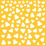 Popcorn popping. Top air view. Cinema movie night sign symbol. Tasty food. Flat design style. Yellow background. Popcorn popping. Heart shape frame. Cinema Royalty Free Stock Photos