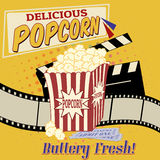 Popcorn poster. Popcorn with clapper board, filmstrip and movie tickets on vintage grunge poster, vector illustration Stock Photography