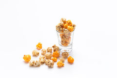 Popcorn put in glass. Isolate Stock Photos