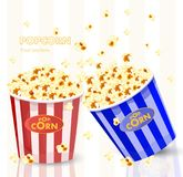 Popcorn in red and blue striped bucket boxes. Popcorn exploding. Vector. Illustration Royalty Free Stock Photo