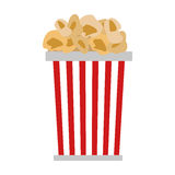 Popcorn in red and white cardboard box is shaking vector illustration. Royalty Free Stock Image