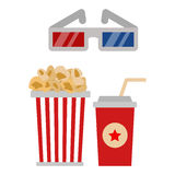 Popcorn in red and white cardboard box is shaking vector illustration. Royalty Free Stock Photography