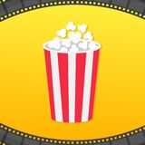 Popcorn round box. Film strip rounded frame. Movie Cinema icon. Pop corn popping. Yellow gradient background. Fast food. Flat desi. Gn. Vector illustration Stock Photo