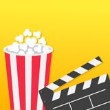 Popcorn round box. Open clapper board. Movie Cinema icon set in flat design style. Pop corn popping. Yellow gradient background. F. Ast food. Vector illustration Royalty Free Stock Photo