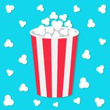 Popcorn round bucket box. Movie Cinema icon in flat design style. Pop corn popping. Flying element. Blue background. Fast food. Popcorn round bucket box. Movie Stock Image