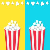 Popcorn round bucket box set. Movie Cinema icon in flat design style. Pop corn popping. Fast food. Blue and yellow background temp. Late. Vector illustration Royalty Free Stock Photos