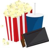 Popcorn-Süßigkeit und Getränk lizenzfreie abbildung