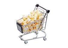 Popcorn salty sweet snack in shopping cart Royalty Free Stock Image