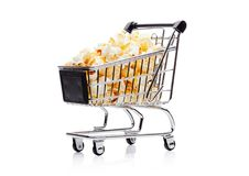 Popcorn salty sweet snack in shopping cart Stock Photo