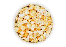 Popcorn salty sweet snack in white bowl Royalty Free Stock Photography