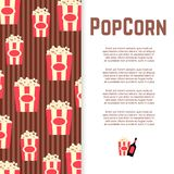 Popcorn and sauce banner design. Poster with flat snack. Vector illustration Stock Photo