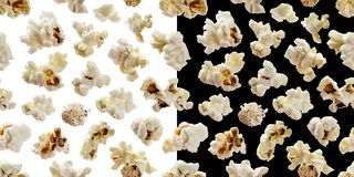 Popcorn seamless pattern. Pop corn on white and black backgrounds. Popcorn seamless pattern. Pop corn isolated on white and black backgrounds stock images