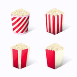 Popcorn set collection in different packages snack Stock Photo