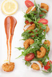 Popcorn Shrimp and Baby Arugula Salad Royalty Free Stock Photo