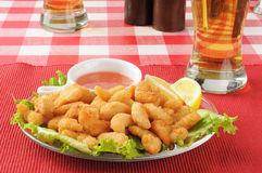 Popcorn shrimp and beer Royalty Free Stock Images
