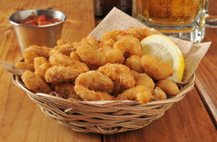 Popcorn shrimp and beer Royalty Free Stock Image