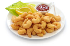 Popcorn shrimp with ketchup sauce Stock Image