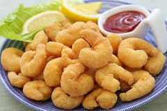 Popcorn shrimp with ketchup sauce Stock Images