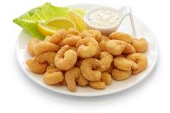 Popcorn shrimp with tartar sauce Royalty Free Stock Images