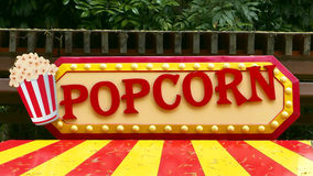 Popcorn sign. Colorful popcorn sign with lighting border Stock Photo