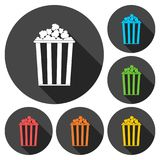 Popcorn simple icons set with long shadow. Popcorn simple icon with long shadow, vector icon Royalty Free Stock Image