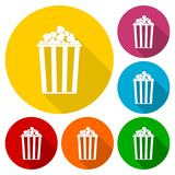 Popcorn simple icons set with long shadow. Vector icon Stock Images