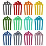 Popcorn simple icons set. Vector icon Stock Photography