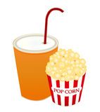 Popcorn and soda Royalty Free Stock Photography
