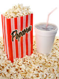 Popcorn and soda. Bag of popcorn and cup soda royalty free stock image