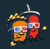 Popcorn and soda characters best friends. Vector flat Royalty Free Stock Images