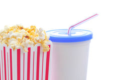 Popcorn with Soda Cup and Straw Royalty Free Stock Photos