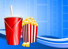 Popcorn and soda on film background Royalty Free Stock Image