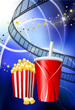 Popcorn and Soda on film Reel Background. 