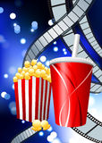 Popcorn and Soda on Film Strip Background. 