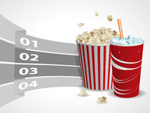 Popcorn and soda with graphic informations Stock Images