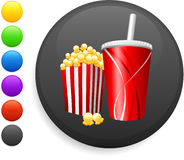 Popcorn and soda icon on round internet button stock illustration