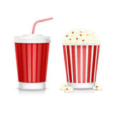 Popcorn and soda isolated on white Stock Photography