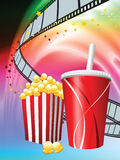 Popcorn and Soda on Liquid Wave Background Stock Images