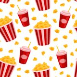 Popcorn and soda  seamless pattern. Royalty Free Stock Photo