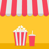Popcorn and soda with straw. Cinema icon. Striped store awning for shop, marketplace, cafe, restaurant. Red white canopy roof.  Royalty Free Stock Photos