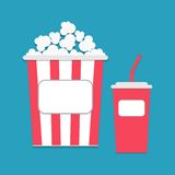 Popcorn and soda with straw empty label tag. On blue Stock Images
