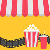 Popcorn and soda with straw. Film strip. Cinema icon. Striped store awning for shop, marketplace, cafe, restaurant.  Stock Photos