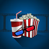 Popcorn soda takeaway and 3d cinema glasses design  illus. Tration eps10 Royalty Free Stock Photos