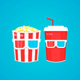 Popcorn, soda takeaway and 3d cinema glasses. Vector flat design illustration Stock Photo