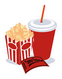 Popcorn, Soda and Ticket Royalty Free Stock Photo