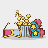Popcorn, soda and tickets in the cinema. Vector illustration design Royalty Free Stock Photo