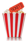 Popcorn in square box with movie tickets isolated on a white Royalty Free Stock Photography